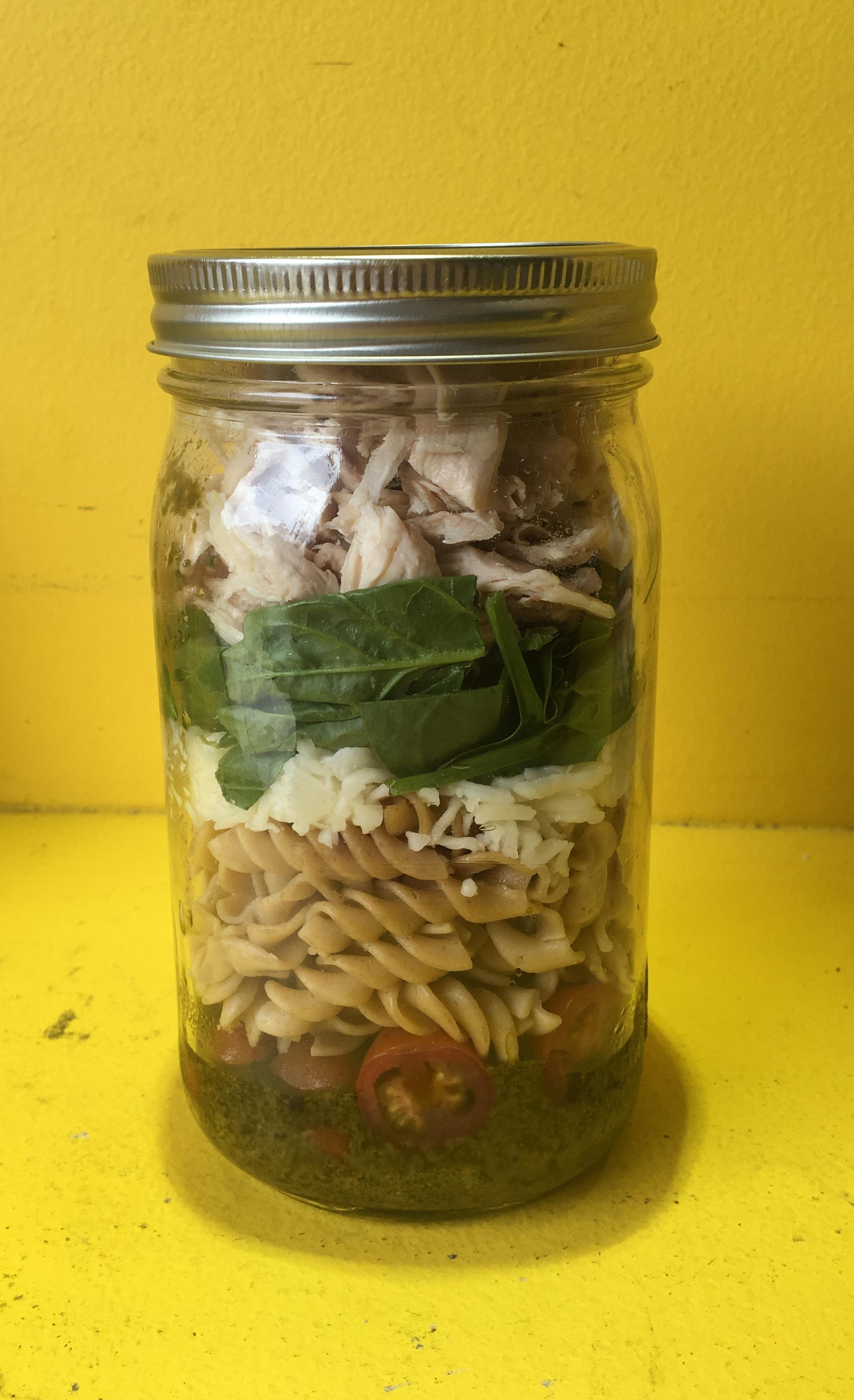 Mason Jar Pesto Chicken Pasta Salad - Jan Tilley ...