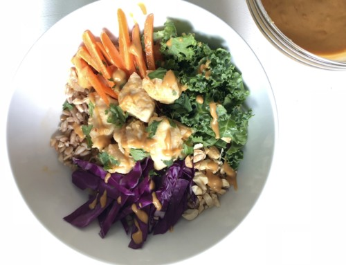 Thai Chicken Buddha Bowls with Spicy Peanut Sauce