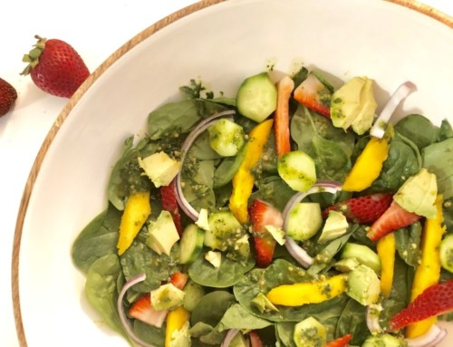 Mango Strawberry Spinach Salad with Cilantro-Lime Dressing