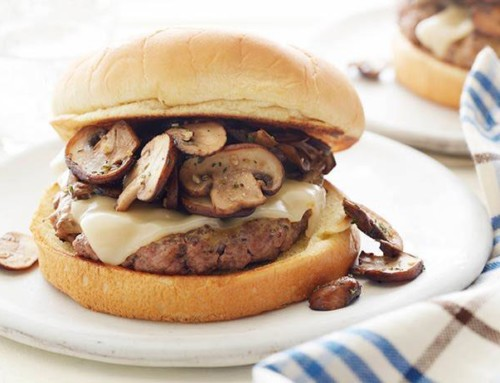 Mustard-Glazed Burgers with Mushrooms